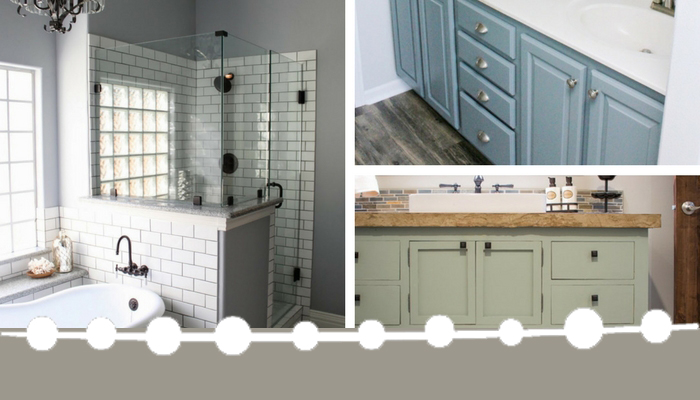 Get inspired by these farmhouse master bathroom design ideas and learn more about my ongoing DIY home addition project at www.hunnyimhomediy.com #DIY #farmhouse